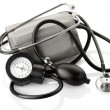 Medical sphygmomanometer and stethoscope — Stock Photo