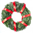Christmas wreath with red ribbon — Stock Photo
