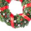 Christmas wreath with red ribbon — ストック写真