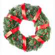 Christmas pine wreath with red ribbon — Stock Photo