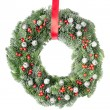 Christmas wreath with red ribbon — 图库照片