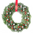 Christmas wreath with red ribbon — Stok fotoğraf