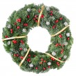 Foto Stock: Christmas wreath with red berries and pine cones