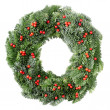 Foto Stock: Christmas wreath with red berries