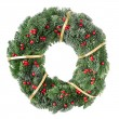 Christmas wreath with red berries — Stok fotoğraf