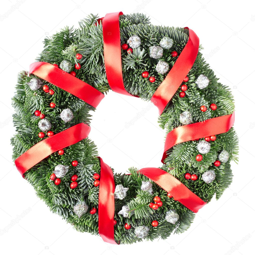 Christmas pine wreath isolated on white background — Lizenzfreies Foto #8338001