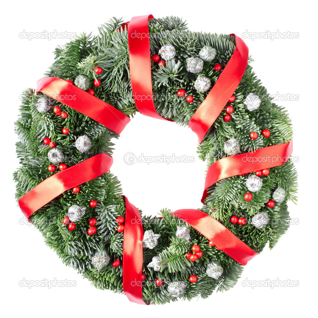 Christmas pine wreath isolated on white background  Foto de Stock   #8338001