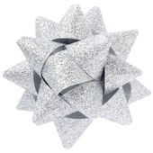 Silver glitter bow — Stock Photo