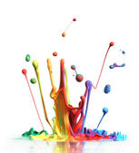Colorful paint splashing isolated on white — 图库照片