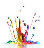 Kolorowe farby rozpryskiwania biały na białym tle na — Zdjęcie stockowe