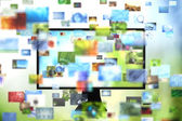 Tv with images — Stock Photo