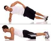 Plank (front hold, hover, abdominal bridge) exercise. Studio shot over whit — Foto Stock