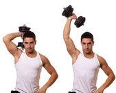 Een arm triceps extensie. studio opname over wit. — Stockfoto