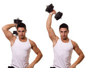 Jednou rukou triceps rozšíření. studio zastřelil bílá. — Stock fotografie