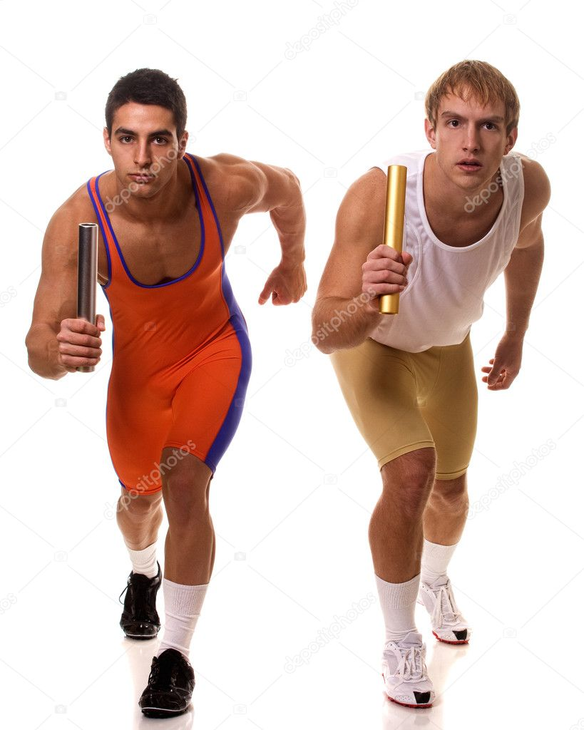 Athletes Racing Relay — Stock Photo #9008749