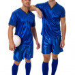 Two soccer players. Studio shot over white. — Stock Photo #9024883