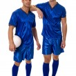Two soccer players. Studio shot over white. — Stock Photo