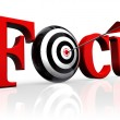 Focus red word and conceptual target - Stock Photo