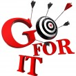Go for it red words and conceptual target — Stock Photo
