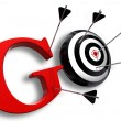 Go red word and conceptual target — Stock Photo