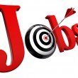 Jobs red word and conceptual target — Stock Photo