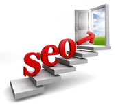 Seo red word and arrow on stair — Stock Photo