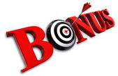 Bonus red word and conceptual target — Stock Photo