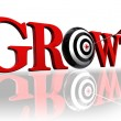 Growth red word and target — Stockfoto
