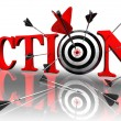 Action red word and conceptual target — Foto de stock #9466936