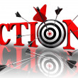 Action red word and conceptual target — Zdjęcie stockowe #9466936