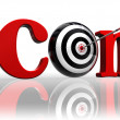 Dot com red word and conceptual target — Stock Photo