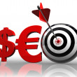 Seo red word with dollar euro and target — Stock Photo #9467092