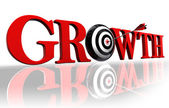 Growth red word and target — Stock Photo