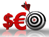 Seo red word with dollar euro and target — Stock Photo
