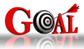 Goal red word and conceptual target — Stock Photo