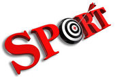 Sport red word and conceptual target — Stock Photo
