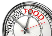 Tempo para alimentar conceito relógio closeup — Fotografia Stock