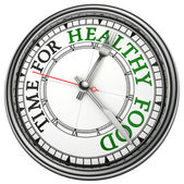Time for healthy food concept clock — Stock Photo