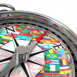 Stock Photo: Compass with flags travel metaphor