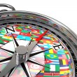 Compass with flags travel metaphor — Stock Photo