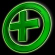 Royalty-Free Stock Photo: Green cross in circle on black background