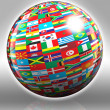 Globe with flags with clipping path — Stock Photo