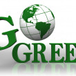 Go green logo word and earth globe — Stock Photo