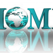 Home logo word and blue earth globe — Stock Photo