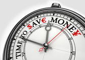 χρόνο για να αποθηκεύσετε τα χρήματα έννοια ρολόι — Φωτογραφία Αρχείου