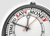Temps pour sauver horloge concept argent — Photo