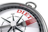 El camino indicado por la brújula del concepto de dieta — Foto de Stock
