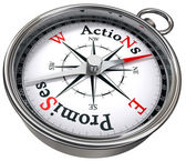 Action vs promises concept compass — Stock Photo