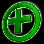 Green cross in circle on black background — 图库照片