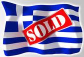 Greece crisis concept flag — Stock Photo